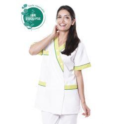 Tunique médicale femme tencel timme blanc/vert anis