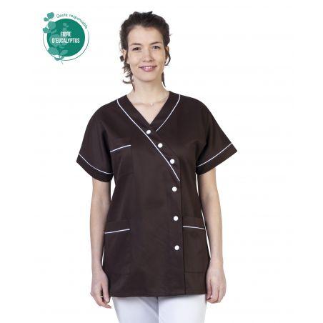 Tunique médicale femme tencel timme marron
