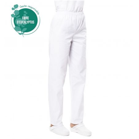 Pantalon médical mixte blanc tencel pliki