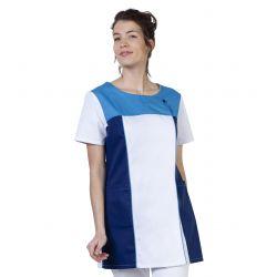 Tunique médicale femme tamil blanc/bleu cobalt