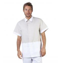 Tunique médicale homme blanche et beige