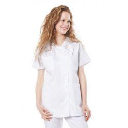 Tunique médicale femme taffa blanc/liseré blanc