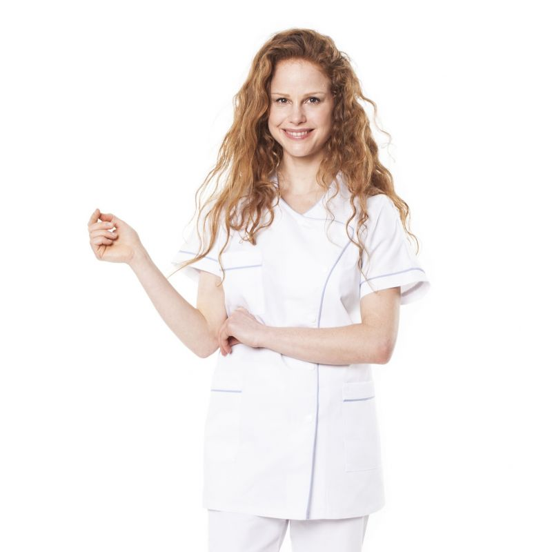 Tunique médicale femme taffa blanc/liseré ciel