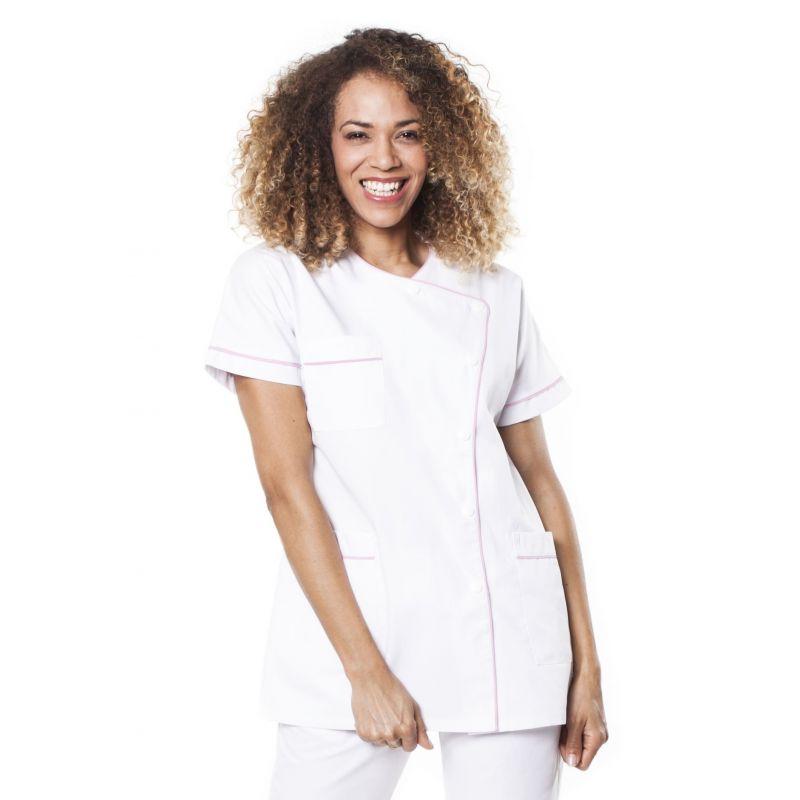 Tunique médicale femme taffa blanc/liseré rose