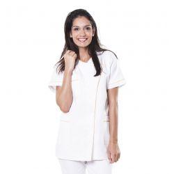 Tunique médicale femme taffa blanc/liseré jaune