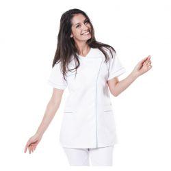 Tunique médicale femme taffa blanc/liseré vert