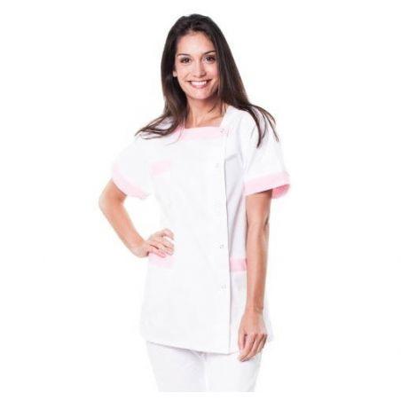 Tunique médicale femme tilly blanc/rose