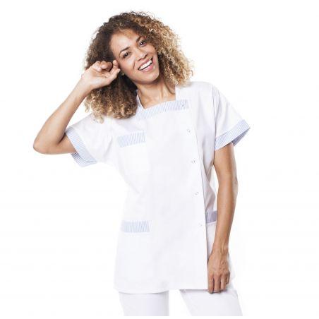 Tunique médicale femme tilly blanc/ciel