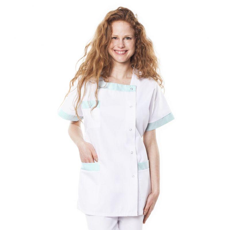 Tunique médicale femme tilly blanc/vert