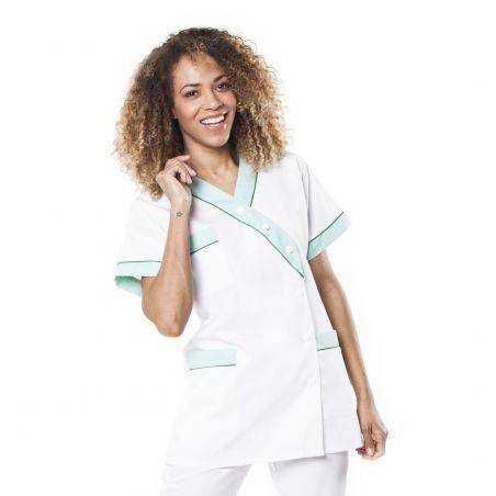 Tunique médicale femme timme blanc/vert