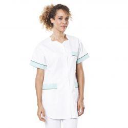 Tunique médicale femme tivry blanc/vert aqua