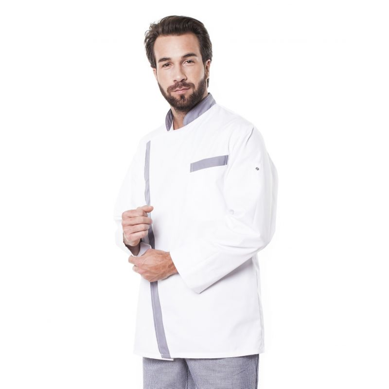 Veste de cuisine mixte trizi blanche parement gris