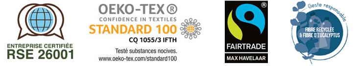 RSE 26001 - Certification Oeko-Tex - Fibre Recyclée